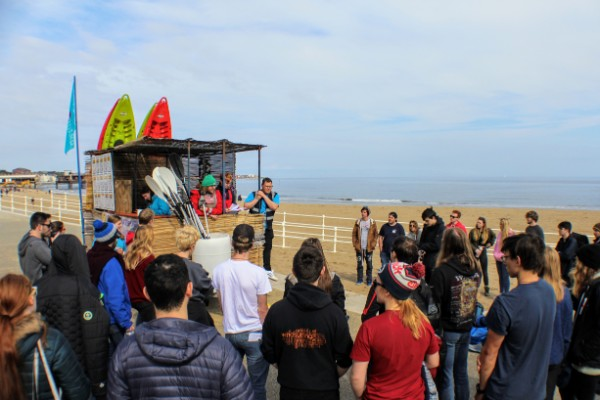 Morning Briefing at the CBW beach hut